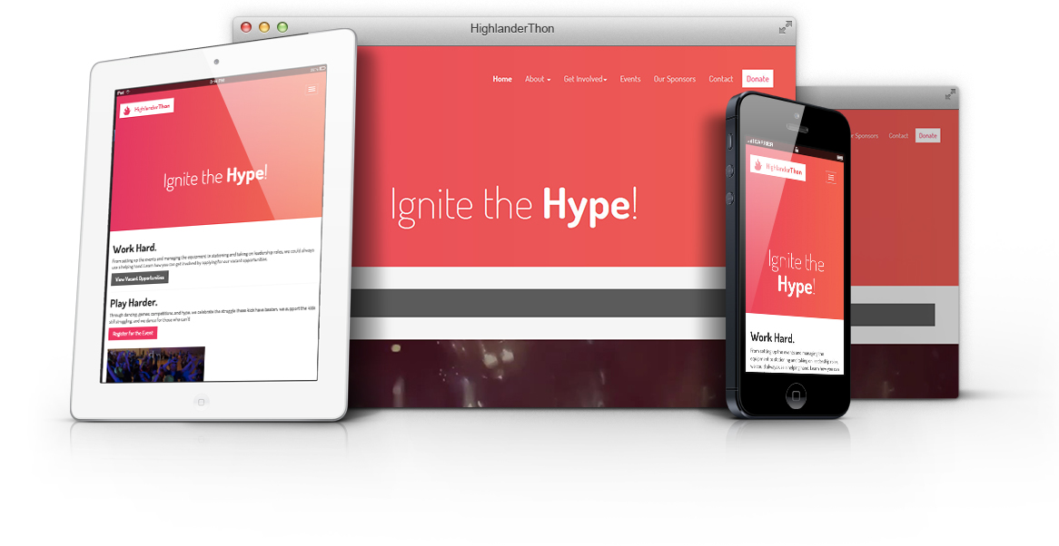 Display of the high-fidelity mockup of the website on all devices